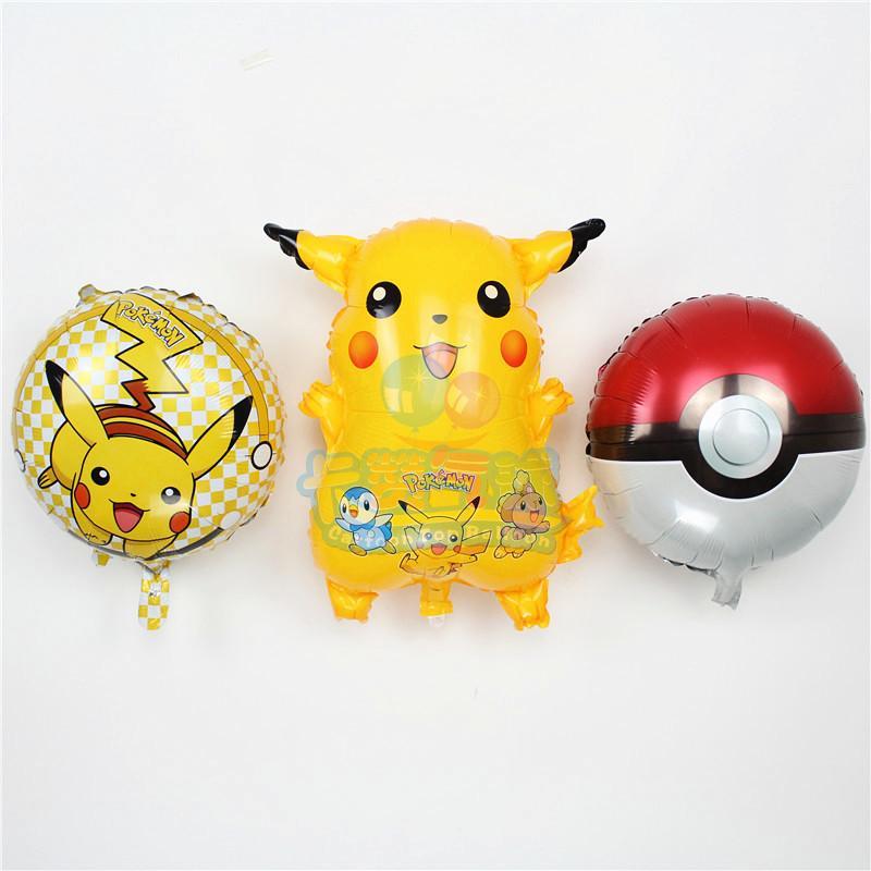 3pcs/set cartoon pokemon go balloons cute pikachu party birthday balloon pokemon