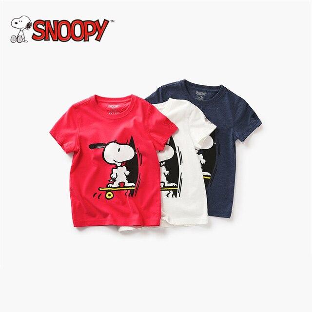 eacc14f861df49 Snoopy Brand Boys Cartoon T-shirt 2018 Summer Girls Shirt Peanut Comic  Wisdom Dog Blouse 100% cotton children Tops Fashion Shirt