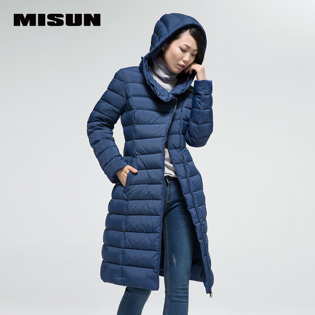 Misun fashion personality slim brief front fly super soft skin-friendly medium-long velvet women'S down coat