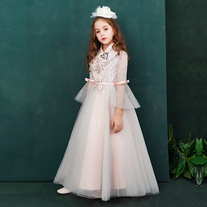 Holy Communion Dress Embroidery Stand Collar Kids Formal Dress Flare Sleeve Foor Length Flower Girl Dresses for Wedding B296Holy Communion Dress Embroidery Stand Collar Kids Formal Dress Flare Sleeve Foor Length Flower Girl Dresses for Wedding B296