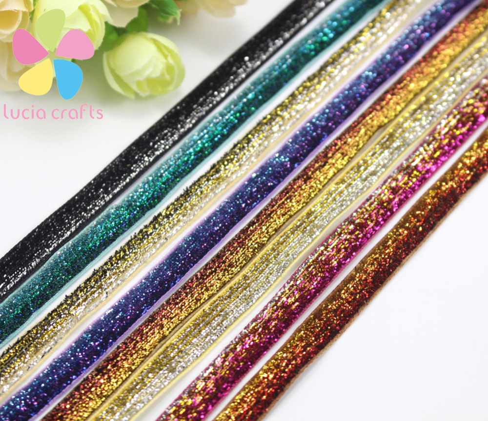 5y/8y 3/8(10mm) Multi color option rainbow Polyester Glitter Velvet Ribbons DIY Paking and Decoration 040006008