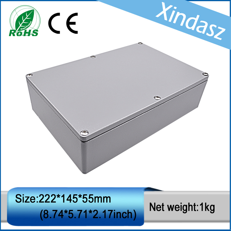 (XD-FA5)222*145*55mm(8.74*5.71*2.16inch)waterproof electrical junction boxes aluminum die casting enclosure 2014 hot sale high qulity ip65 die cast aluminum waterproof box 222 145 75mm with 6pcs screws and 2 iron mounting feet