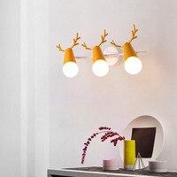 Nórdico macaron cor simples lâmpada de cabeceira lâmpada de parede do corredor corredor luz quarto de crianças decoração da parede da cabeça dos cervos