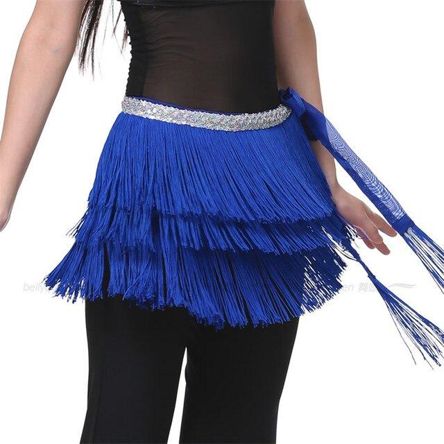 01779202 3 Layers Fringe Tassel Belly Dance Waist Belt Chain Sequins Hip Scarf  Women's Belly Waistband Skirt Orange/Purple/Blue/Rose Red