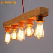 Современный минималистский деревянные Ханинг лампа Люстры Творческий Кафе отдельных гостиная свет Спальня обеденный освещения
