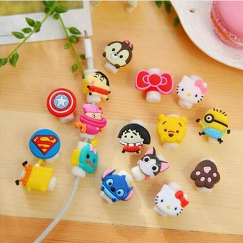 3D Cartoon Cable Protector Cord Protector Protective Sleeves Cable Winder Cover For iPhone iPad USB Charging Cable holer cord image