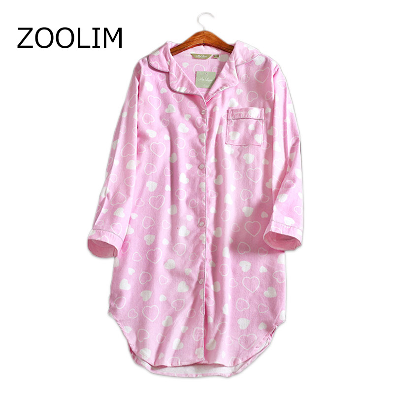 ZOOLIM Autumn Nightdress Sexy   Nightgowns     Sleepshirts   100% Brushed Cotton Women Fresh Cotton Night Shirt Sleepwear Home Wear