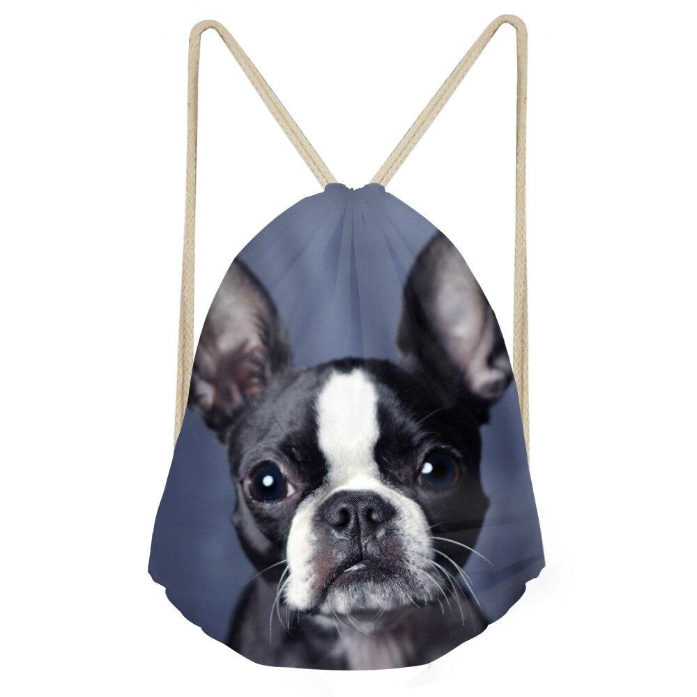 Cute 3D Animal Boston Terrier Printed Women Men Drawstrings Bags Softback Travel Backpacks Multifunction Storage BagSumka