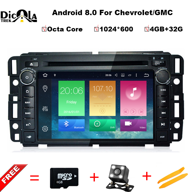 4 + 32 г 1024*600 Восьмиядерный Android 8.0 автомобиль DVD GPS для GMC Yukon Sierra Chevrolet tahoe Express с Радио BT Wi Fi DVR Зеркало Ссылка