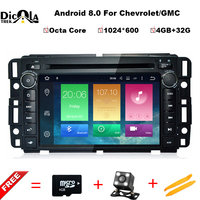 4+32G 1024*600 Octa Core Android 8.0 Car DVD GPS for GMC Yukon Sierra Chevrolet Tahoe Express with Radio BT Wifi DVR Mirror link