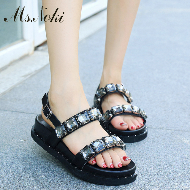 Ms.Noki Summer Style Women Sandals Flip Flops 2017 Sexy Open Toe Slides Female Fashion Crystal Sandals Platform Comfortable