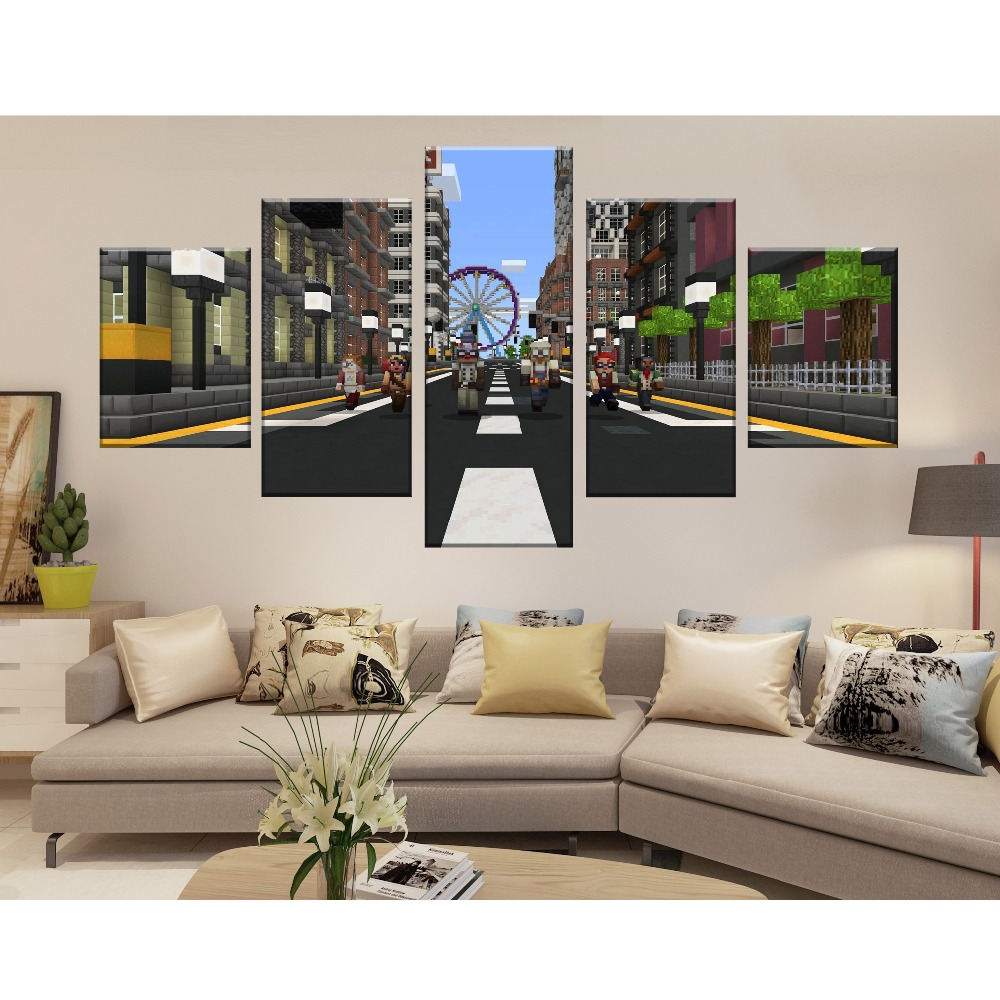 Modern Canvas Painting Frame HD Printed Wall Art Abstract Pictures 5 Pieces Minecraft Game Poster Living Room Home Decor in Painting Calligraphy from Home Garden