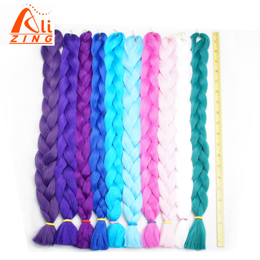 Alizing Synthetic Pure Color 165g 41 Inch Folded  Braiding Hair 1 Piece  Kanekalon Braiding Hair Extension 20 Colors