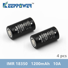 4 個オリジナル Keeppower IMR18350 10A 放電 1200 2600mah UH1835P リチウムイオン充電式バッテリー電池 imr 18350 バッテリー