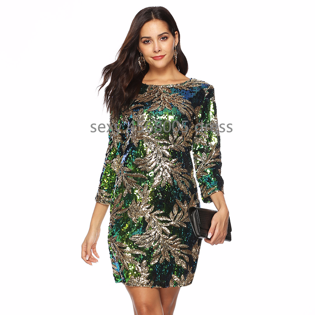 ad62ecee Autumn Women Iridescent Sequin Velvet Dress Stretchy O-Neck 3/4 Sleeve  Floral Paillettes Party Club Bodycon Dress
