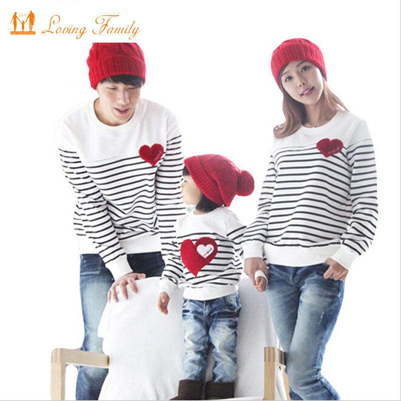 Spring Autumn long sleeve love Stripe father daughter baby girl boy T-shirt clothes Family Matching Outfits family clothing sets mother and daughter clothes short sleeved t shirt dresses family matching outfits baby girl clothes girls clothing long dress