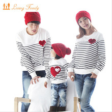 hot deal buy family matching outfits family clothing sets spring autumn long sleeve love stripe father daughter baby girl boy t-shirt clothes