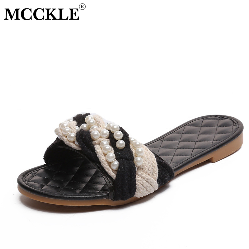MCCKLE Beading Slippers Fashion Flat Shoes For Women Summer Pearl Slides Woven Woman Slipper For Female Casual Footwear