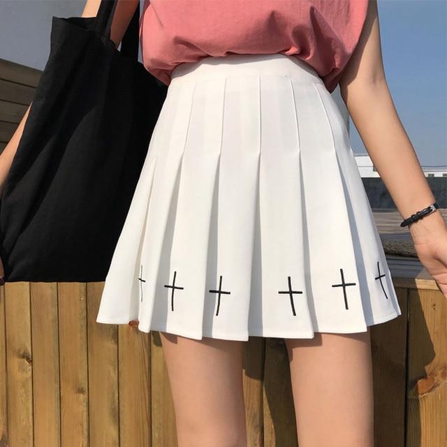 Summer Cross Embroidery Mini Skirts Women Girls Punk Gothic Short Pleated Skirts Female High Waist Black White Skirt