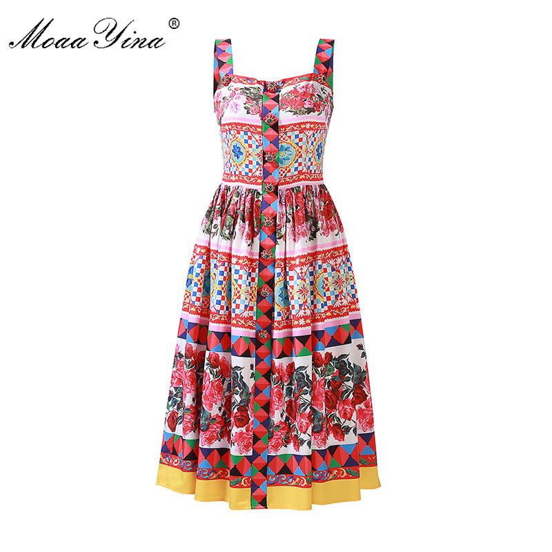 MoaaYina Fashion Runway Sexy Dress Summer Women Backless Spaghetti strap Floral Print Buttons Diamond Casual Holiday