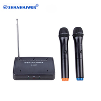 Professional VHF dual channels Pocket handheld wireless microphone built in 3v battery or external 9 v power supply microphone