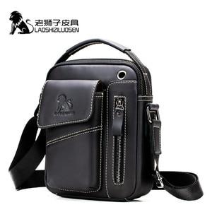 Image 3 - LAOSHIZI Genuine Cow Leather Messenger Bag Men Handbag Chest Crossbody Shoulder Bag Mens bag Tas Business Small Male Bolsas Sac