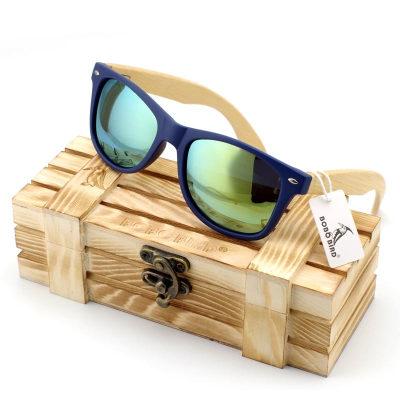 Bamboe houten heren zonnebril in vintage stijl met kunststof frame en gepolariseerde UV-bescherming Kleurrijke lens in geschenkverpakking