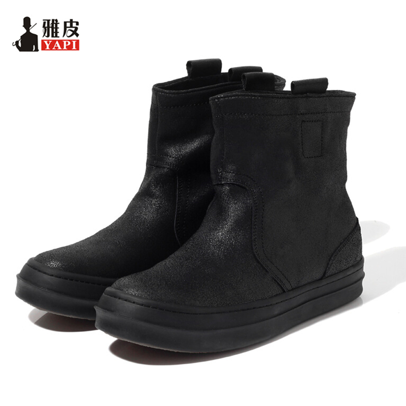 Hight Quality Genuine Leather Mens Mid-calf Snow Boots Pull On Super Warm Plush Winter Boots Man Thick Heel Cotton Shoes high quality genuine leather mid calf boot winter slip on warm snow boots women suede thick sole platform invisible wedges shoes