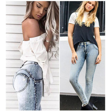 цены на New Slim Jeans Women Skinny High Waist High Elastic Jeans Woman Denim Pencil Pants Stretch Waist Women Jeans Long Pants  в интернет-магазинах