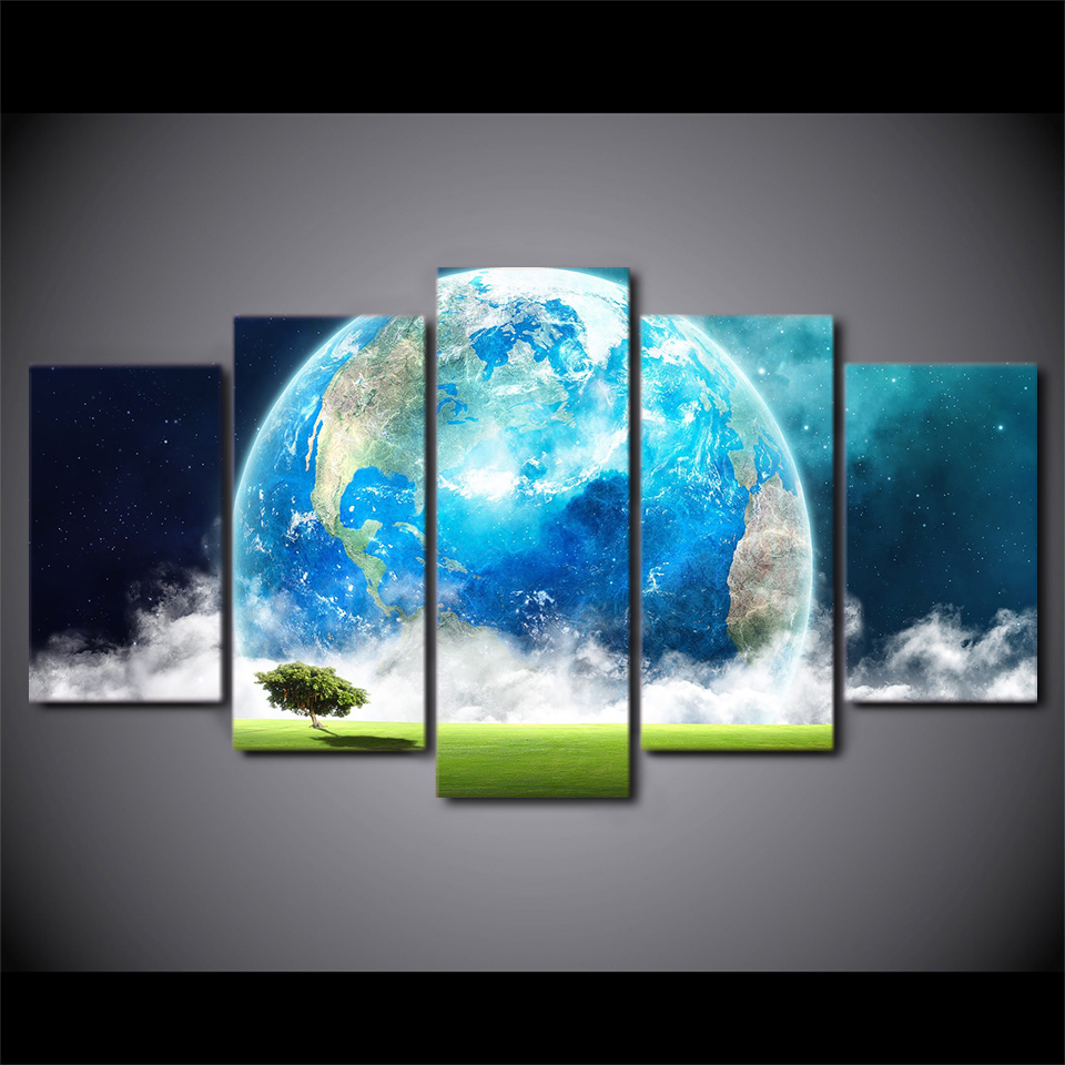 5 pièces/ensemble encadrée imprimée terre bleue planète mur photo peinture sur toile pour salon Art affiche imprimer Quadros Decoracao