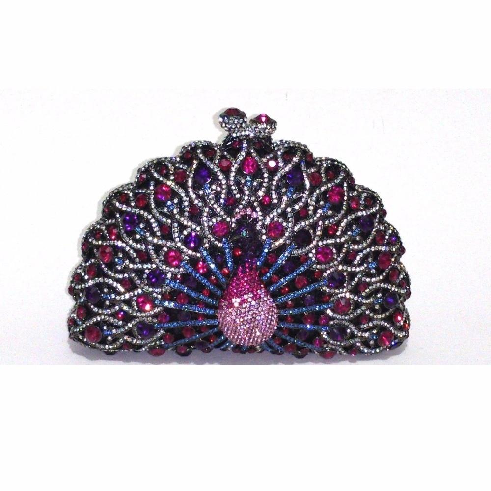 ФОТО 8105TW Crystal Peacock Animal Bird Evening Wedding Bridal Party Night hollow Metal purse clutch bag case box handbag