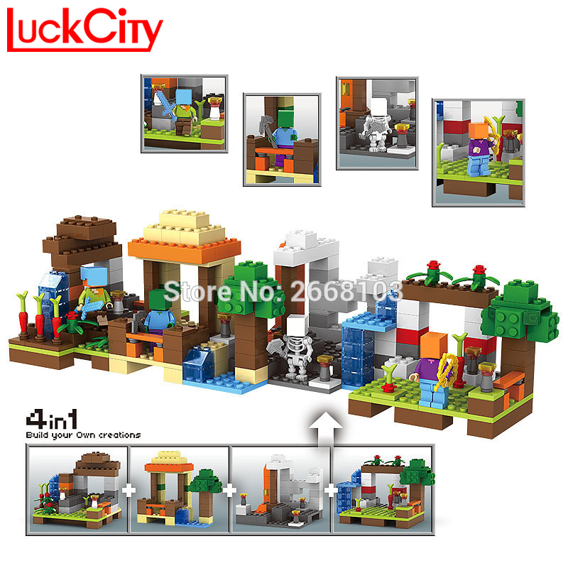 Minecraft My World Blocks House Building Small Village Bricks Figures Sets Tree Model Hobbies DIY Educational Toys Children Gift new 4pcs set minecraft sword espada models figures my world building blocks model set figures compatible toys for kids