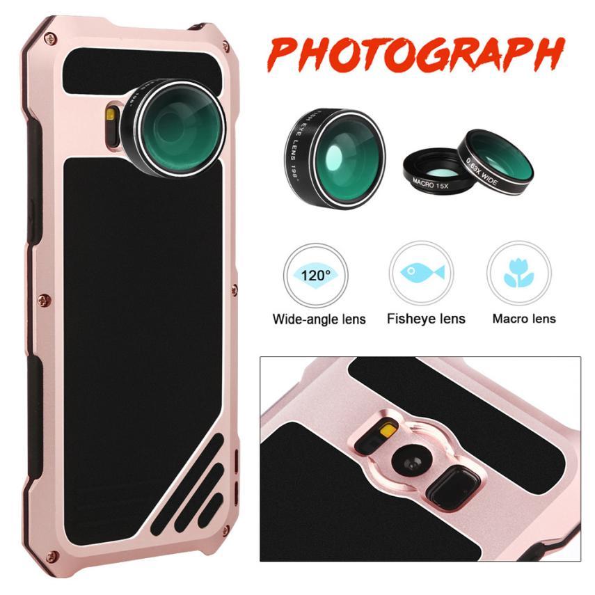 imágenes para 2017 Top venta Nueva prueba de Choques de Aluminio Flim Vidrio Trasero de Metal case para samsung s8 más 6.2 pulgadas 3 changeable lentes