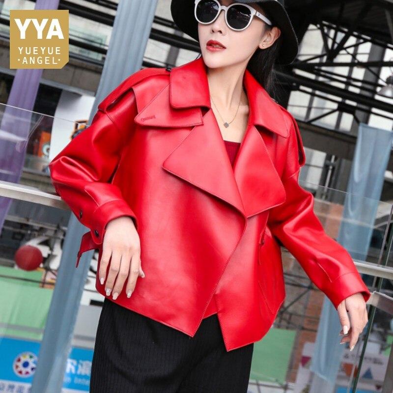 Top marque femmes court lâche 100% en cuir naturel veste de luxe pardessus femme boucle copain Moto Biker en cuir véritable manteau