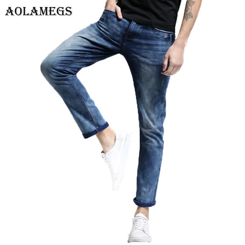 Aolamegs Men Denim Jeans Pants Men's Slim Fit Super Elastic Jeans Trousers Male Tide Snow Wash Boys Cowboy Trousers New Design