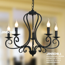 European style 5 heads Chandelier wrought iron candle for living room restaurant lighting black hotel lamps