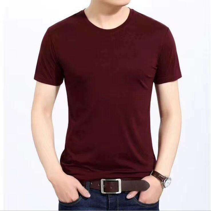 2018Men's short-sleeved round collar with a solid color tee shirt