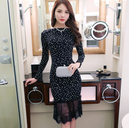 2016 autumn outfit new celebrities word collar lace dress a undertakes to cultivate morality long-sleeved dress