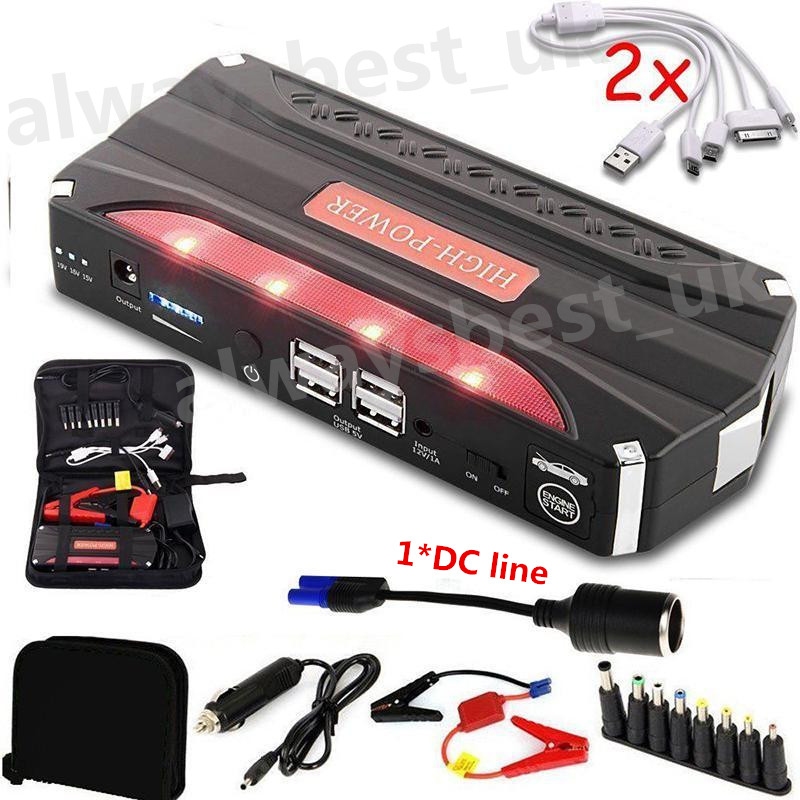 80000mAh 12V Car Jump Starter Portable Starting Device Emergency Petrol Car Battery Booster Charger 4USB
