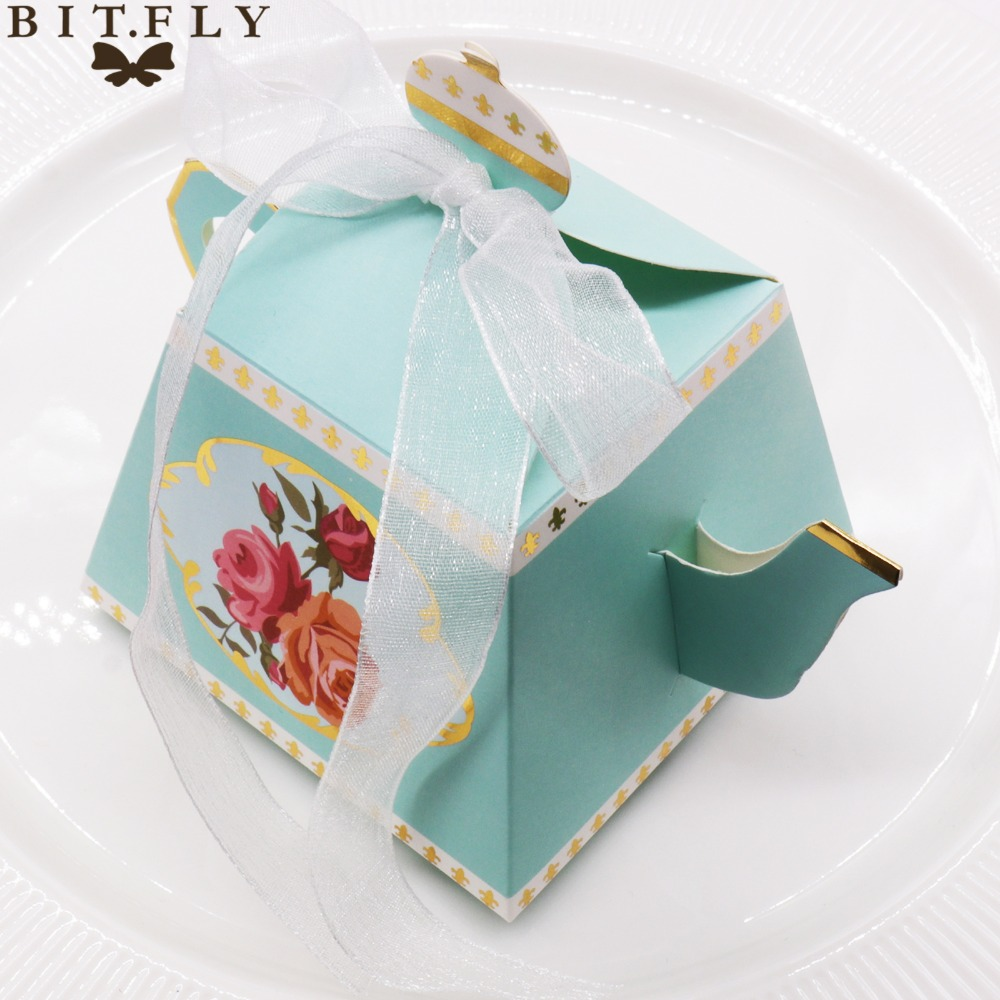 10pcs Teapot Candy Box With Ribbon Gift Cake Candies Packaging Box For Wedding Baby Shower Souvenirs Birthday home party Favors