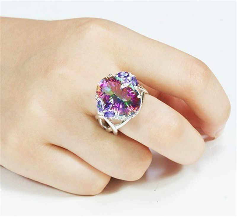 בציר תכשיטי טבעות לנשים קשת מעוקב Zirconia טבעת עם ססגוני אבנים כסף יום נישואים טבעת