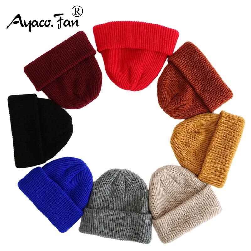 2019   Beanies   Knitted Hats Solid Color Caps for Autumn Winter Men Short Head Cap Outdoor Warm Melon Cap Street Head Cap Women Hat