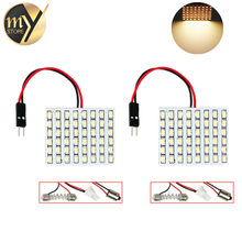 2pcs led panel 48 SMD festoon Warm White Light Panel T10 w5w ba9s c5w Dome 48 LED Interior Bulb 12V Interior Lights