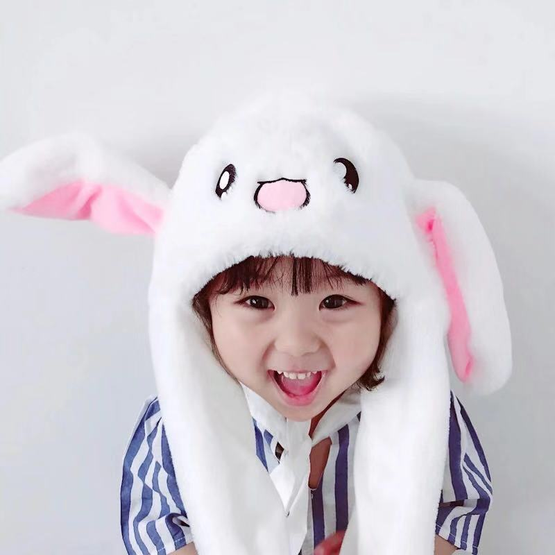 Rabbit moving ears hat Tik Tok cute kids girls pinching bunny hats movable ears ins internet celeb women warm plush beanie caps in Hats Caps from Mother Kids