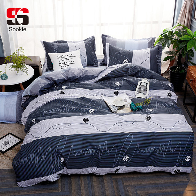 008671807136 Sookie Stripe Bedding Set Modern Geometric Print Bedclothes 3pcs Duvet  Cover Sets Twin Full Queen King