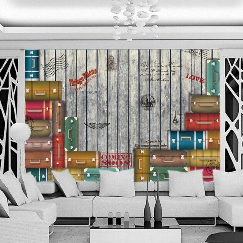 Dropshipping Colomac Tapete Nostilgic Europäischen Stil Retro Wandbild Koffer Tapete Schlafzimmer Papier Wand Papel De Parede 3d Aromatischer Charakter Und Angenehmer Geschmack