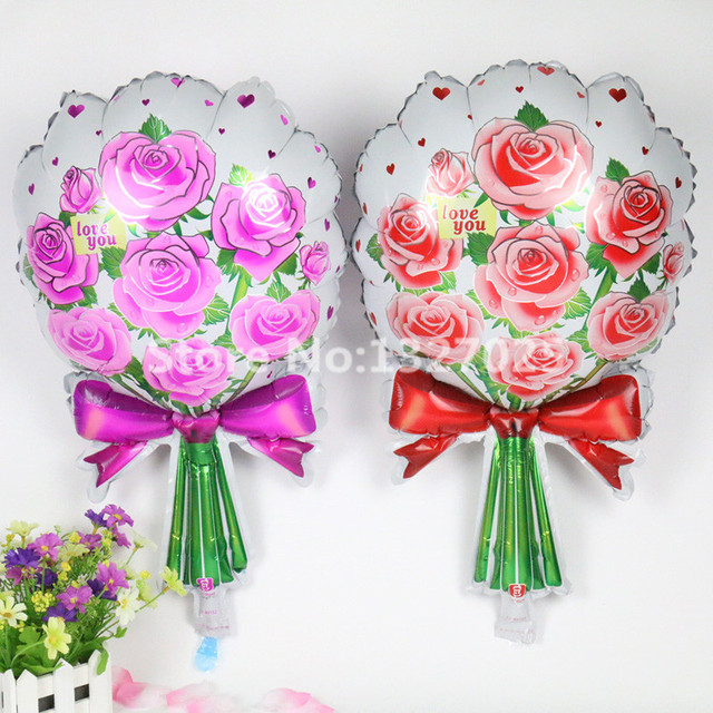2PCS Free Shipping Red Pink Bouquet Roses Balloon Flowers Baloon Birthday Party Wedding Marry Foil