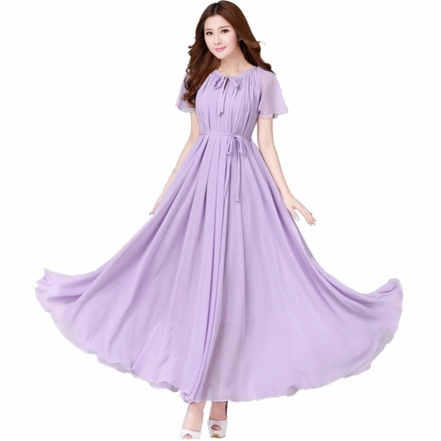 US $35.19 12% OFF|Women\'s Lavender Chiffon Beach/garden Wedding Bridesmaid  Maxi Dress Comfortable Holiday Sundress Plus Sizes-in Dresses from Women\'s  ...