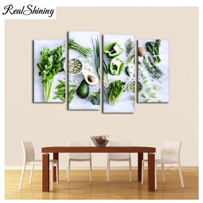 4 Pcs diamond painting,Healthy Greens Vegetables Capsicum Lettuce,5d diy diamond painting full square/round cross stitch FS3984