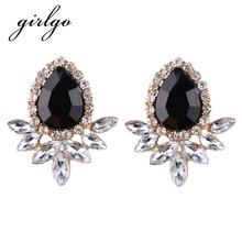 Girlgo New Fashion Multicolored Cute Sector Geometric Stud Earrings For Women Bridal Wedding Earrings Luxury Jewelry Accessories